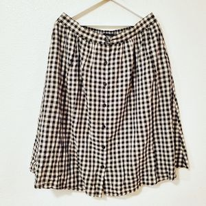 Who What Wear Gingham Plaid Button Front Skirt